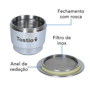 Exclusivo sistema de filtro em aço inox da Cápsula Reutilizável Tostio Nespresso