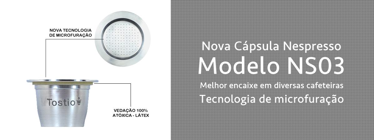 Cápsula Reutilizável Tostio Compatível com sistema Nespresso - nova versão NS03